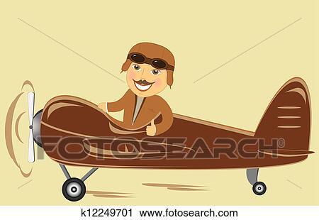 Aereo con pilota esposizione pollice clip art k