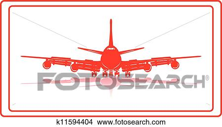 A commercial airplane in red silhuette.