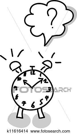 Clipart Of Alarm Clock Hand Writing K11616414