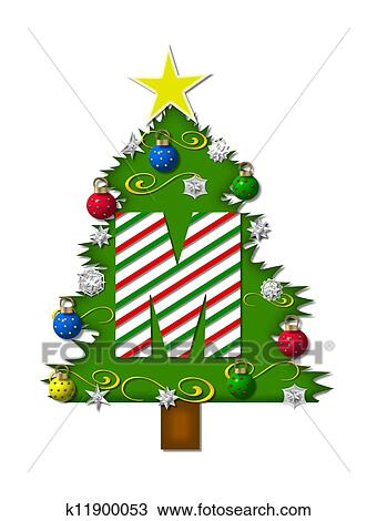 the letter m in the alphabet set christmas joy is a candy cane striped letter decorating a christmas tree tree is covered in snowflakes and 3d