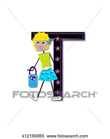 stock illustration alphabet diva dolly t fotosearch search clipart drawings decorative