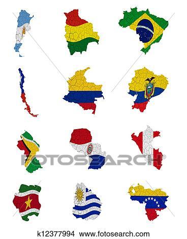 desenhos américa sul países bandeira mapas k12377994 busca de