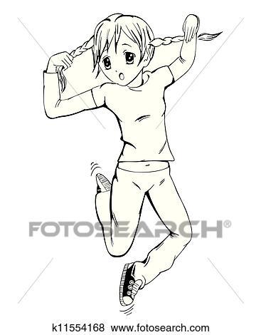 Clip Art Anime Mädchen Mit Zöpfe K11554168 Suche Clipart