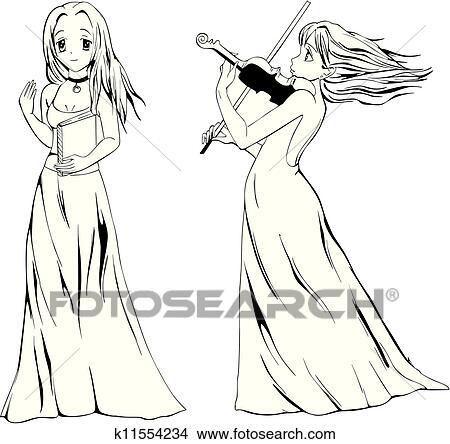Anime Ragazze Con Libro E Violino Clipart K11554234