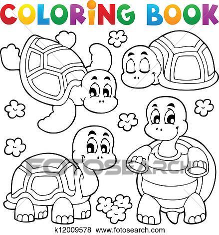 Clip Art Ausmalbilder Schildkröte Thema 1 K12009578 Suche