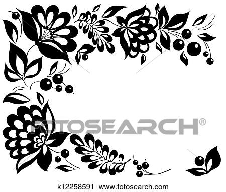 Clipart of black and white flowers and leaves floral design element black and white flowers and leaves floral design element in retro style mightylinksfo