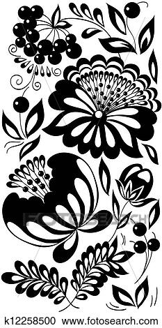 Clipart Of Black And White Flowers Leaves And Berries Background