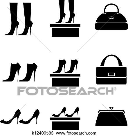 Clipart Of Black Icons Female Bags And Shoes K12409583 Search Clip