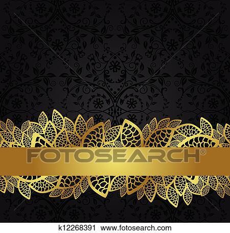 Clipart Of Black Wallpaper And Golden Banner K12268391
