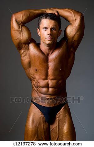 Bilder - bodybuilder, starke, athletische, mann, weisen, muskel, arm ...