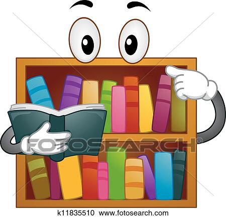 Clipart Of Bookshelf Mascot K11835510