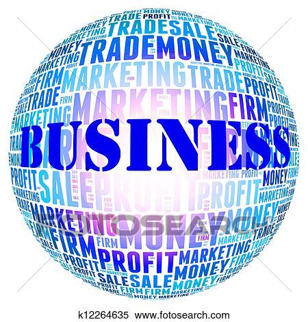 stock illustration of business word globe on white background