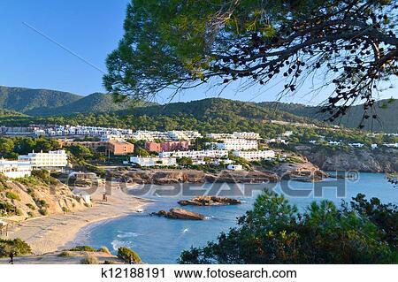 Cala Tarida beach in Ibiza, Spain Stock Image
