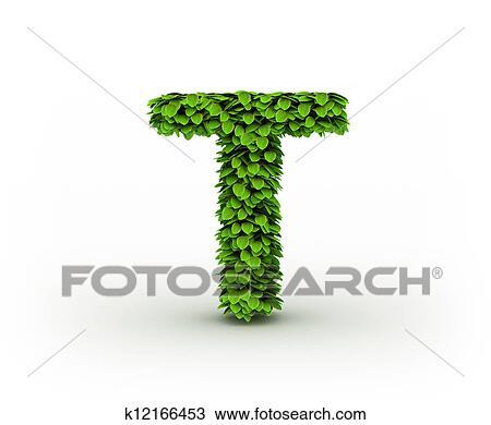 Colección de foto - carta, t, alfabeto, de, hojas verdes k12166453 ...