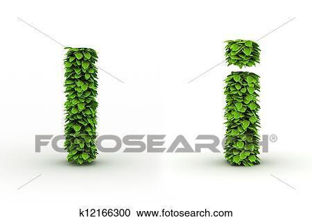 Banco de Fotografías - carta, yo, alfabeto, de, hojas verdes ...