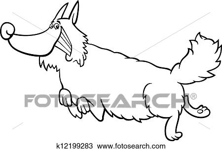 Clipart of cartoon shaggy dog for coloring book k12199283 - Search ...
