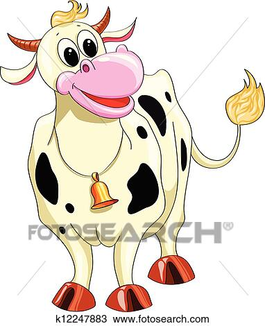 Clipart Of Cartoon Spotted Cow K12247883