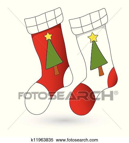 Cartoon Stockings Christmas Vector Clipart K11963835 Fotosearch