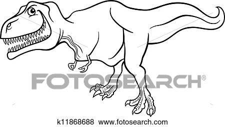 Cartoon Tyrannosaurus Dinosaur For Coloring Book Clip Art K11868688 Fotosearch
