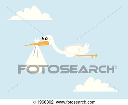 clipart cegonha voando k11968302 busca de ilustrações clip art