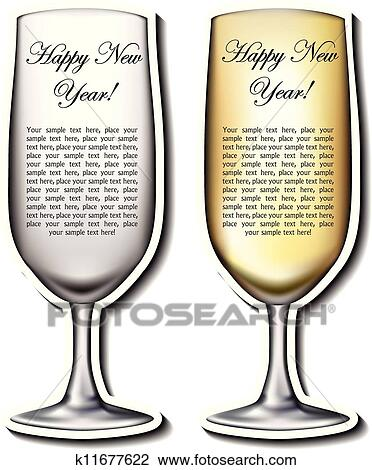 champagne glass shaped new year greeting cards in silver and gold color variation