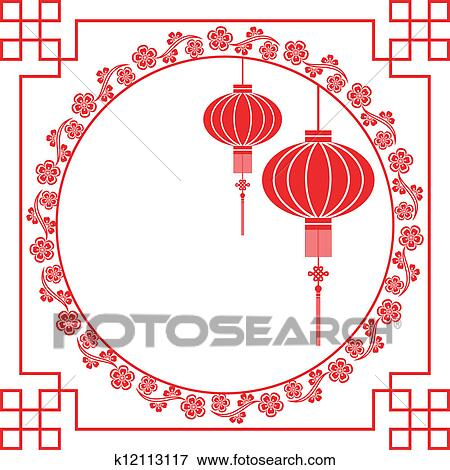 Clip Art of Chinese New Year Greeting Card k12113117 - Search ...