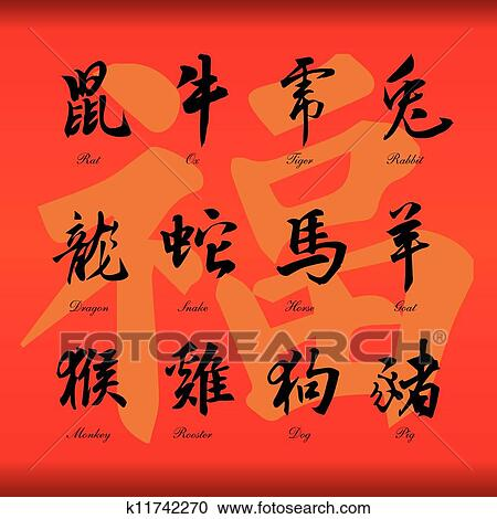 Clipart Of Chinese Zodiac Symbols K11742270 Search Clip Art