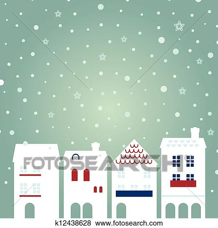 clip art of christmas city on snowing background k12438628 search