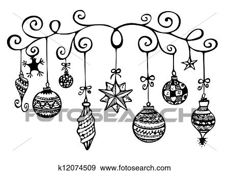 Drawings Of Christmas Ornaments.Christmas Ornaments Sketch Stock Illustration