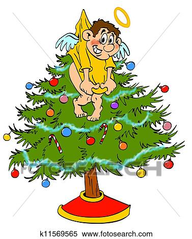 Christmas Tree Topper Angel Stock Illustration