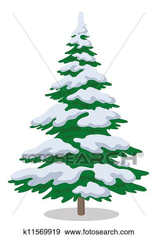 Stock Illustration Of Christmas Tree With Snow K11569919 Search