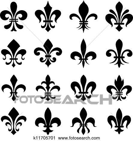 Clipart Classique Fleur Lys Symbole Ensemble K11705701