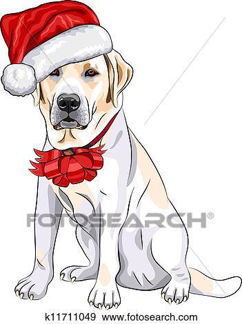 Clip Art Of Color Sketch Of The Puppy Dog Labrador Retriever Breed