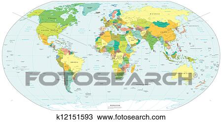 Drawing of colour world globe map k12151593 search clipart colour world globe map america europe africa gumiabroncs Images