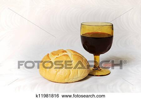 Beautiful Picture Of Communion Bread And Wine