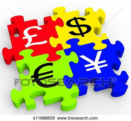 Stock Illustration Of Currency Symbols Puzzle Showing Forex