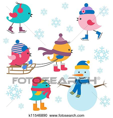 clipart of cute birds winter k11546890 search clip art