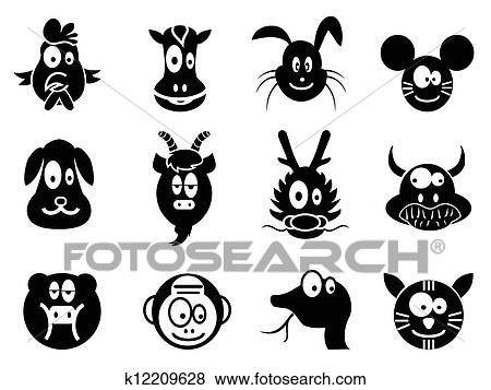Clip Art Of Cute Cartoon Chinese Zodiac Icontwelve Animals
