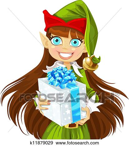 Clip Art Of Cute Girl Elf Give Christmas Gift K11879029 Search