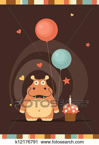 Clipart Of Cute Happy Birthday Card With Fun Hippo K12176791