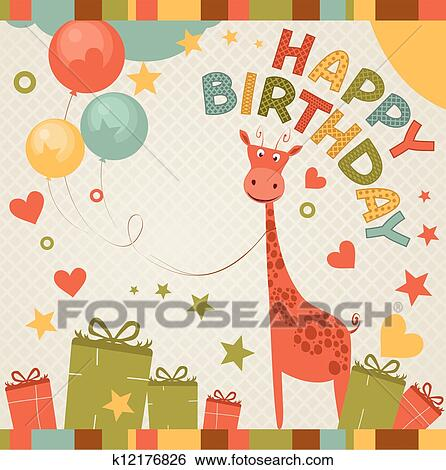 Clip Art Of Cute Happy Birthday Card With Giraffe K12176826
