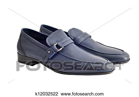 Dark Blue Stylish Male Shoes With Little Buckles Isolated On White Background Stock Image