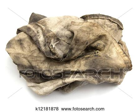 7387d6c040 Dirty rag on a white background Stock Photo | k12181878 | Fotosearch
