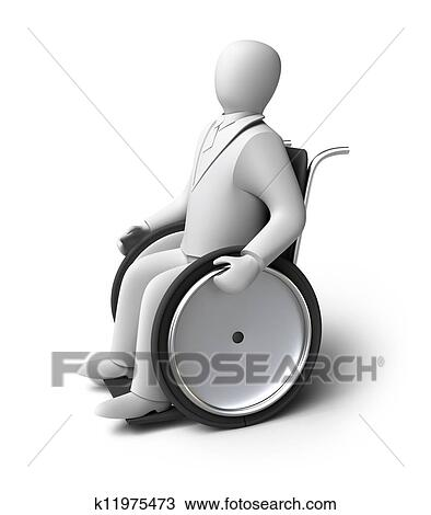 Disabled Person On A Wheelchair Drawing