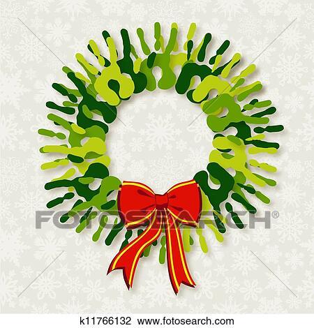Christmas Wreath Clipart.Diversity Green Hands Christmas Wreath Clipart
