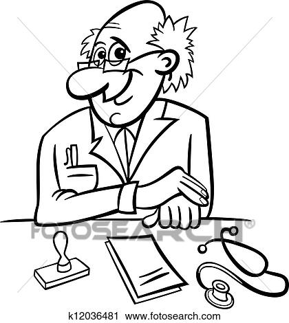 Clipart Of Doctor In Clinic Black And White Cartoon K12036481