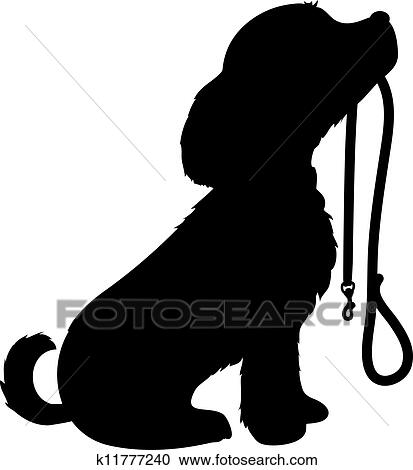 clipart of dog and leash k11777240 search clip art illustration rh fotosearch com dog walking clip art images walk the dog clipart