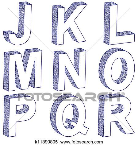 Clipart - drawing 3D letter J-R. Fotosearch