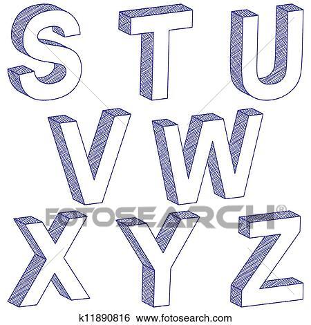 Drawing 3d Letter S Z Clip Art K11890816 Fotosearch
