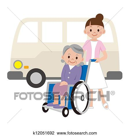 clip art of elderly women and young nurse k12051692 search clipart rh fotosearch com young simba clipart young clipart png